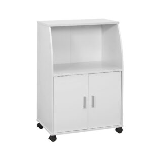 KITCHEN CART – 33″H / WHITE ON CASTORS