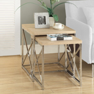 NESTING TABLE – 2PCS SET / NATURAL WITH CHROME METAL