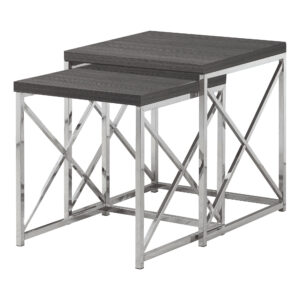 NESTING TABLE – 2PCS SET / GREY WITH CHROME METAL