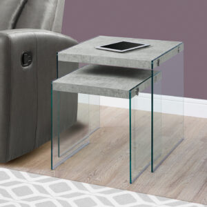 NESTING TABLE – 2PCS SET / GREY CEMENT / TEMPERED GLASS