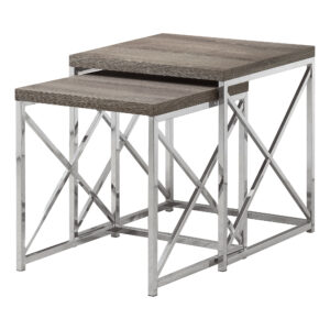 NESTING TABLE – 2PCS SET / DARK TAUPE WITH CHROME METAL