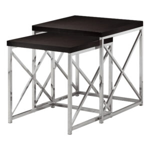 NESTING TABLE – 2PCS SET / ESPRESSO WITH CHROME METAL