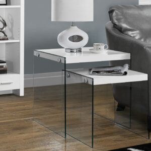 NESTING TABLE – 2PCS SET / GLOSSY WHITE / TEMPERED GLASS