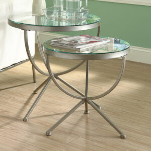 NESTING TABLE – 2PCS SET / SILVER WITH TEMPERED GLASS