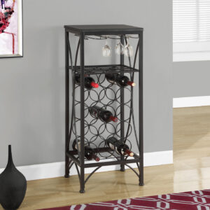 HOME BAR – 40″H / BLACK METAL WINE BOTTLE AND GLASS RACK