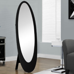 MIRROR – 59″H / BLACK CONTEMPORARY OVAL FRAME