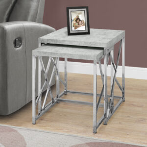 NESTING TABLE – 2PCS SET / GREY CEMENT WITH CHROME METAL