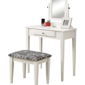 VANITY SET – 2PCS SET / WHITE WITH A ZEBRA FABRIC STOOL