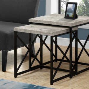 NESTING TABLE – 2PCS SET / GREY RECLAIMED WOOD / BLACK