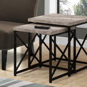 NESTING TABLE – 2PCS SET / TAUPE RECLAIMED WOOD / BLACK