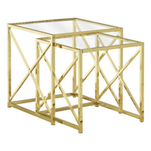 NESTING TABLE – 2PCS SET / GOLD METAL WITH TEMPERED GLASS