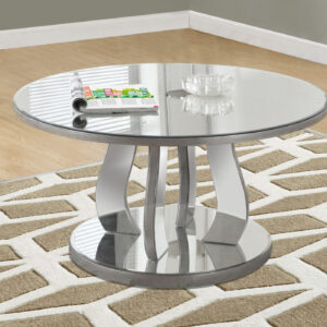 COFFEE TABLE – 36″DIA / BRUSHED SILVER / MIRROR
