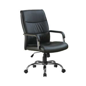 OFFICE CHAIR – BLACK LEATHER-LOOK FABRIC