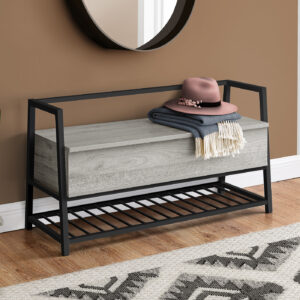 BENCH – 42″L / GREY STORAGE / BLACK METAL