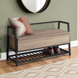 BENCH – 42″L / DARK TAUPE STORAGE / BLACK METAL