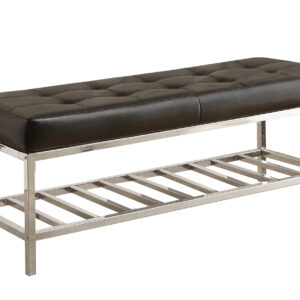BENCH – 48″L / BLACK LEATHER-LOOK / CHROME METAL