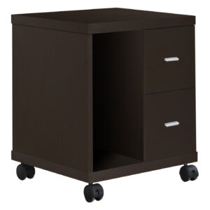OFFICE CABINET – ESPRESSO 2 DRAWER ON CASTORS