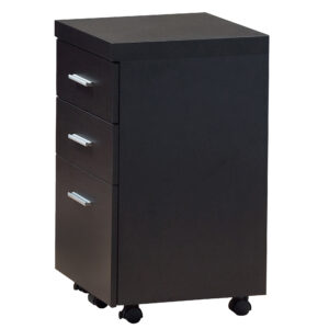 FILING CABINET – 3 DRAWER / ESPRESSO ON CASTORS