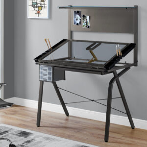 DRAFTING TABLE – ADJUSTABLE / GREY METAL / TEMPERED GLASS