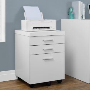 FILING CABINET – 3 DRAWER / WHITE ON CASTORS