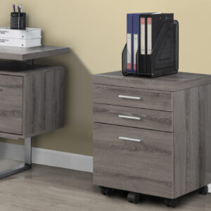 FILING CABINET – 3 DRAWER / DARK TAUPE ON CASTORS