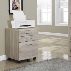 FILING CABINET – 3 DRAWER / NATURAL ON CASTORS