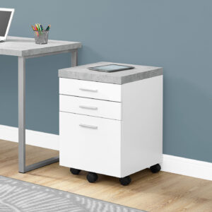 FILING CABINET – 3 DRAWER / WHITE / CEMENT-LOOK ON CASTOR