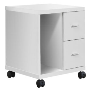OFFICE CABINET – WHITE WITH 2 DRAWERS ON CASTORS
