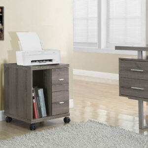 OFFICE CABINET – DARK TAUPE WITH 2 DRAWERS ON CASTORS