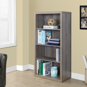 BOOKCASE – 48″H / DARK TAUPE WITH ADJUSTABLE SHELVES