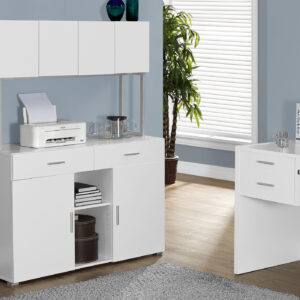 OFFICE CABINET – 48″L / WHITE STORAGE CREDENZA