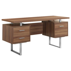 COMPUTER DESK – 60″L / WALNUT / SILVER METAL