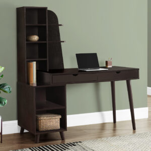 COMPUTER DESK – 55″L / ESPRESSO WITH BOOKCASE