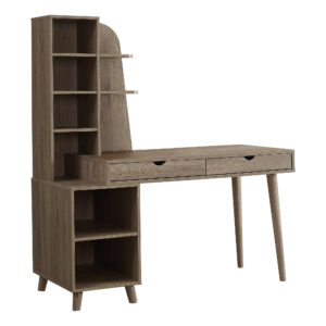 COMPUTER DESK – 55″L / DARK TAUPE WITH BOOKCASE