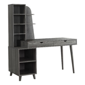 COMPUTER DESK – 55″L / GREY WITH BOOKCASE