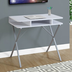 COMPUTER DESK – 31″L / WHITE TOP / SILVER METAL