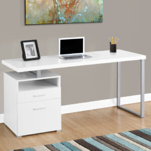 COMPUTER DESK – 60″L / WHITE / SILVER METAL
