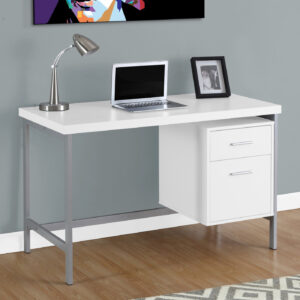 COMPUTER DESK – 48″L / WHITE / SILVER METAL