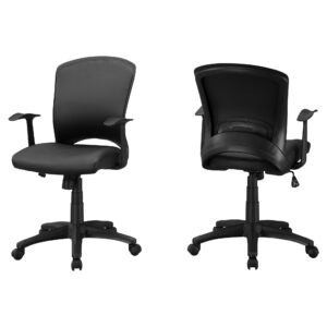 OFFICE CHAIR – BLACK LEATHER-LOOK / MULTI POSITION