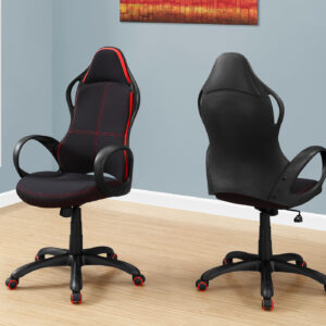 OFFICE CHAIR – BLACK / RED FABRIC / MULTI POSITION