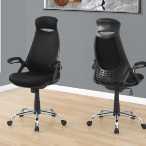 OFFICE CHAIR – BLACK MESH / CHROME HIGH-BACK EXECUTIVE