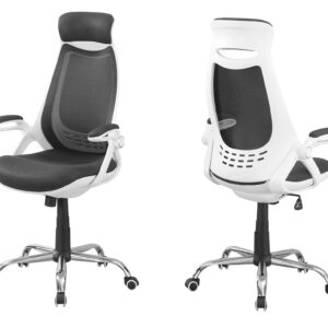 OFFICE CHAIR – WHITE / GREY MESH / CHROME HIGH-BACK EXEC