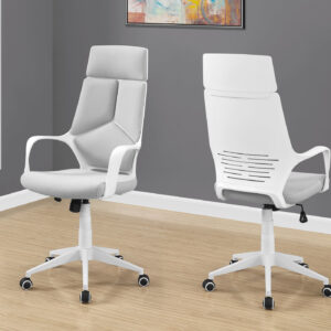 OFFICE CHAIR – WHITE / GREY FABRIC / HIGH BACK EXECUTIVE