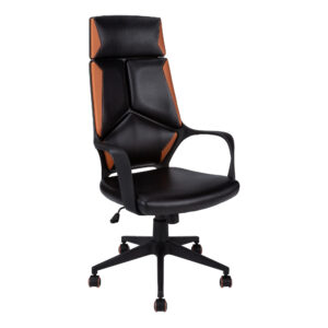 OFFICE CHAIR – BLACK / BROWN LEATHER-LOOK / EXECUTIVE