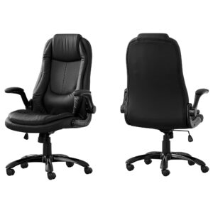 OFFICE CHAIR – BLACK LEATHER-LOOK / HIGH BACK EXECUTIVE
