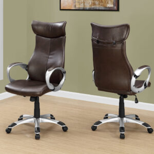 OFFICE CHAIR – BROWN LEATHER-LOOK / HIGH BACK EXECUTIVE