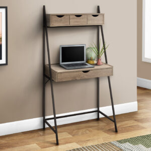 COMPUTER DESK – 32″L / DARK TAUPE / BLACK METAL