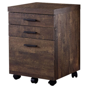FILING CABINET – 3 DRAWER / BROWN RECLAIMED WOOD/ CASTORS