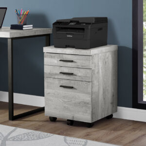 FILING CABINET – 3 DRAWER / GREY RECLAIMED WOOD / CASTORS