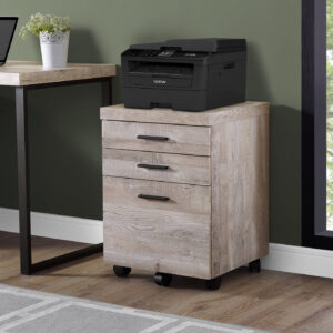 FILING CABINET – 3 DRAWER / TAUPE RECLAIMED WOOD/ CASTORS